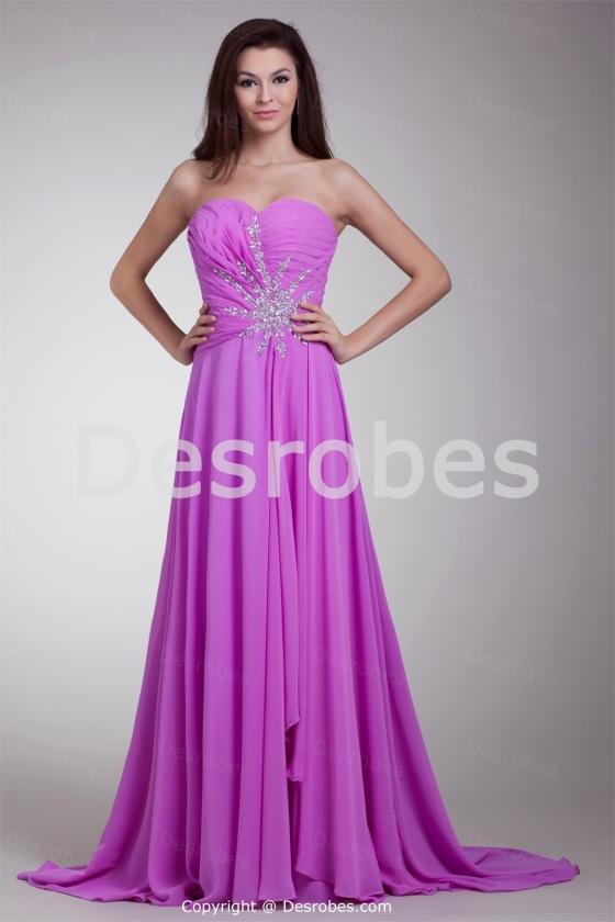 Robe de soirée lilas traîne balai sans bretelles en mousseline de soie 2014